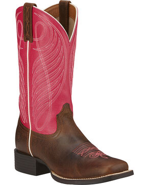 Ariat Women's Round Up Performance Western Boots, Wicker, hi-res