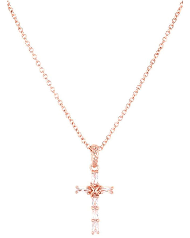 Montana Silversmiths Women's Entwined Rose Gold Brilliant Cross Necklace, Rose, hi-res