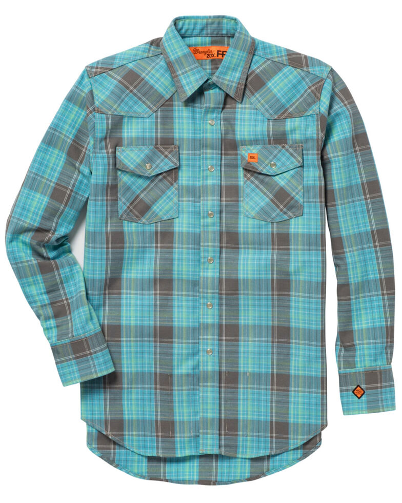 Wrangler 20X Men's Turquoise Flame Resistant Long Sleeve Western Shirt, Turquoise, hi-res