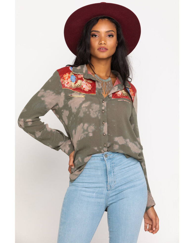 Aratta Women's Olive Wild West Long Sleeve Top, Olive, hi-res