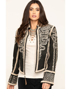Double D Ranchwear Women's Black Plaza Charro Jacket, Black, hi-res