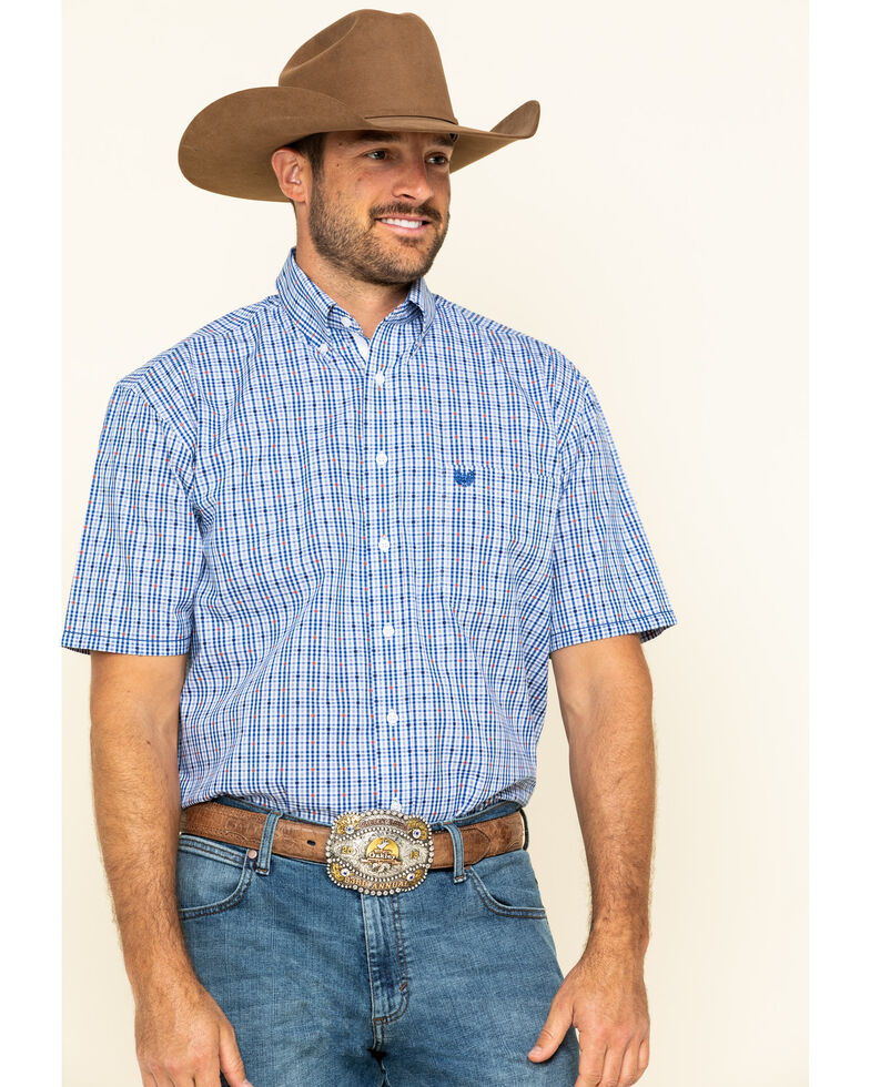 Rough Stock By Panhandle Men's Devlin Dobby Plaid Short Sleeve Western Shirt , Blue, hi-res