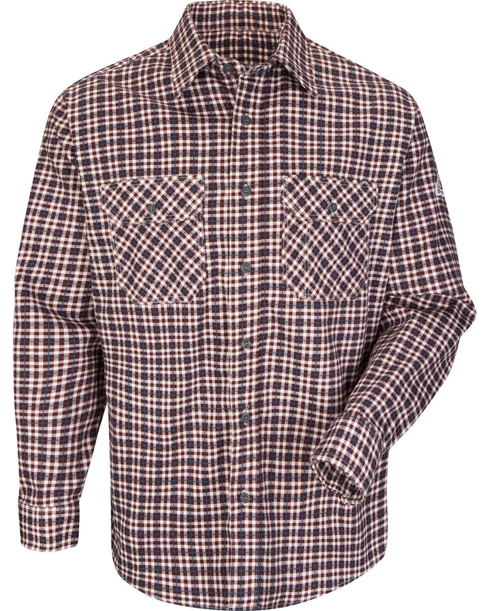 Bulwark Men's Burgundy Plaid Flame Resistant Uniform Shirt - Big & Tall , Burgundy, hi-res