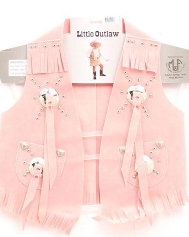 M&F Western Girls' Faux Suede Vest Pack, Pink, hi-res