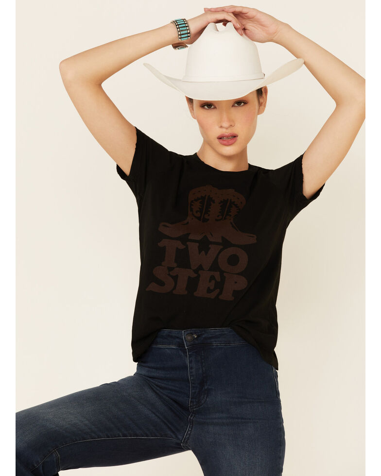 Bandit Women's Black Two Step Boots Graphic Tee , Rust Copper, hi-res