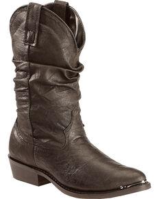 Dingo Men's Pigskin Slouch Western Boots, Black, hi-res