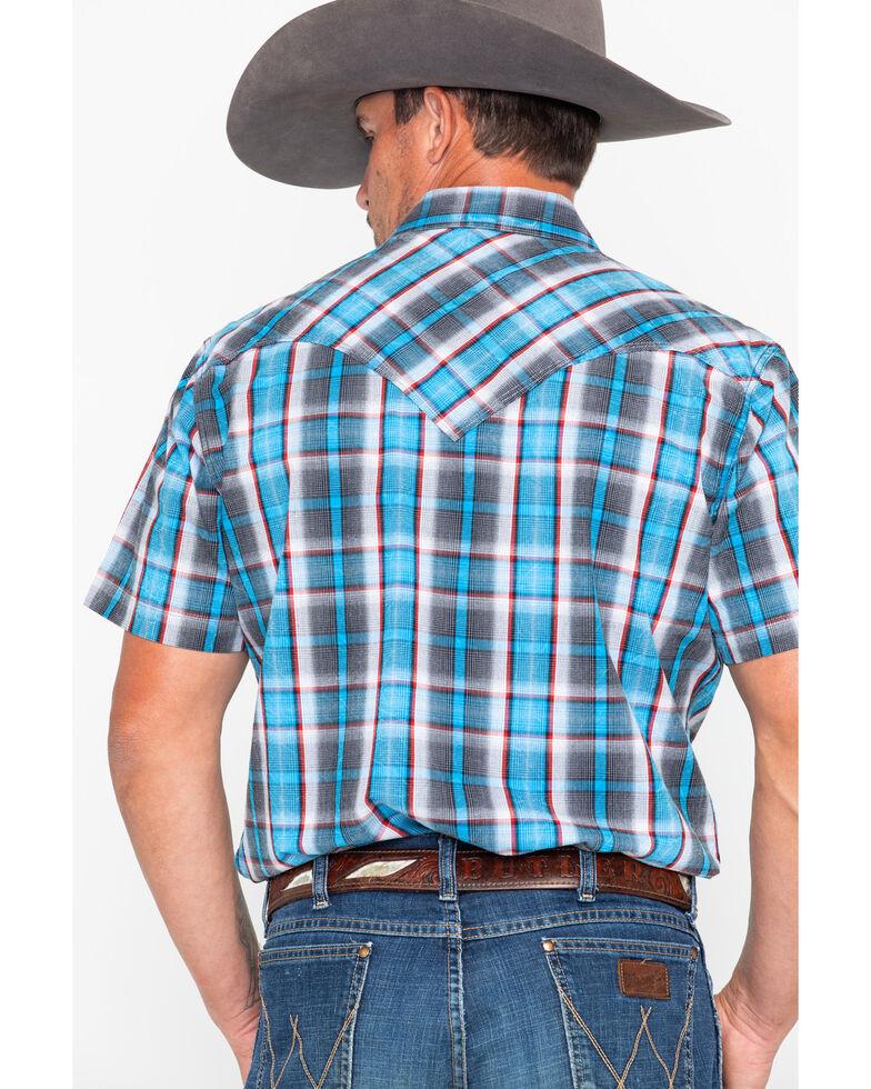 Rock & Roll Cowboy Men's Crinkle Plaid Snap Short Sleeve Western Shirt , Blue, hi-res