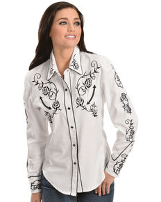 Scully -  Floral Embroidered Retro Western Shirt, White, hi-res