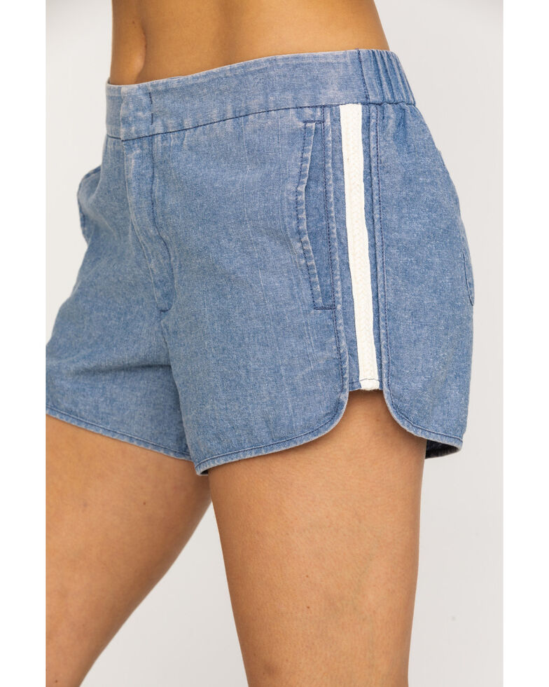 Rag Poets Women's Blue Denim Braided Loire Shorts, Blue, hi-res