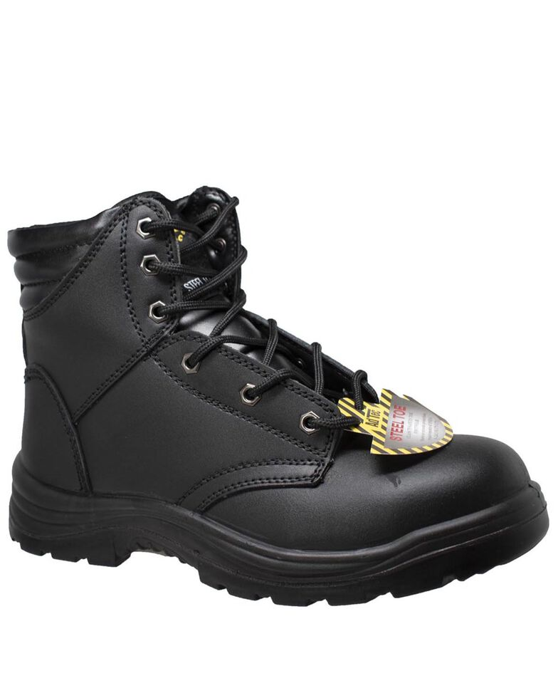 "Ad Tec Men's Black 6"" Lace-Up Work Boots - Steel Toe, Black, hi-res"