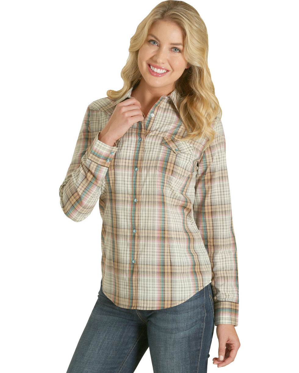 Wrangler Women's Natural Plaid Fashion Western Shirt , Natural, hi-res