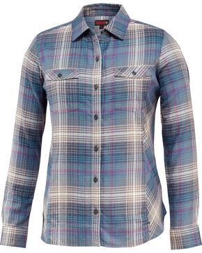 Wolverine Women's Autumn Long Sleeve Flannel Work Shirt, Dark Grey, hi-res