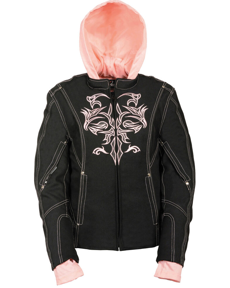 Milwaukee Leather Women's 3/4 Jacket With Reflective Tribal Detail - 5X, Pink/black, hi-res