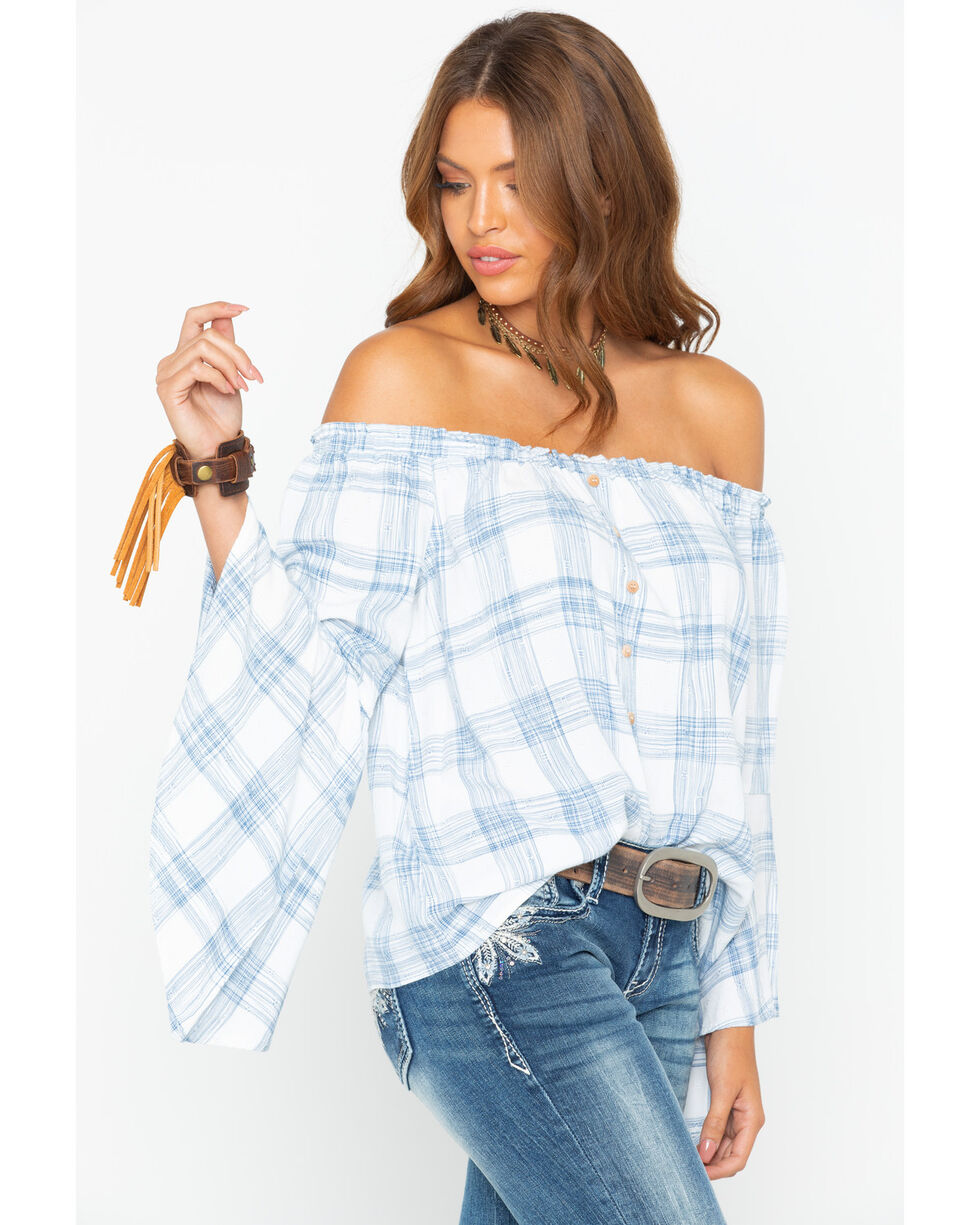 Shyanne Women's Plaid Off-The-Shoulder Flutter Long Sleeve Top, Blue, hi-res