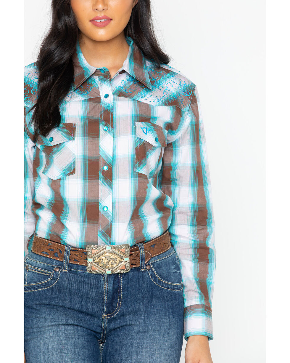 Cowboy Hardware Women's Plaid Western Snap Shirt , Brown, hi-res