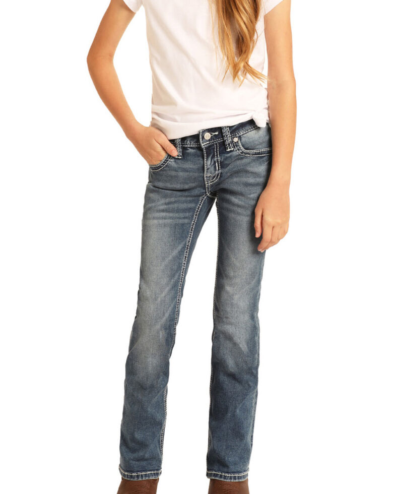 Rock & Roll Denim Girls' Medium Embroidered Bootcut Jeans, Blue, hi-res