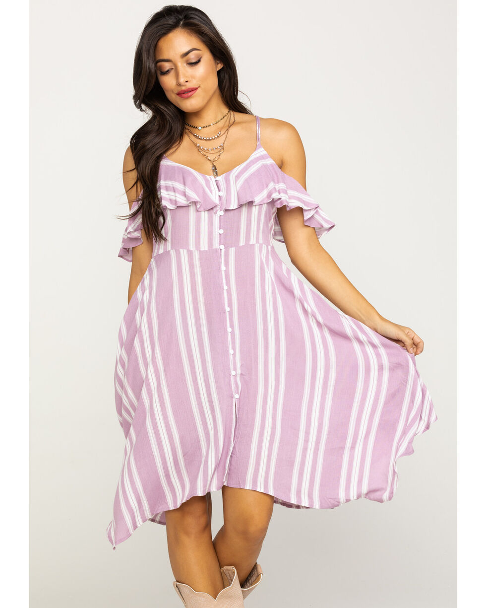 Angie Women's Stripe Cold Shoulder Dress, Lavender, hi-res