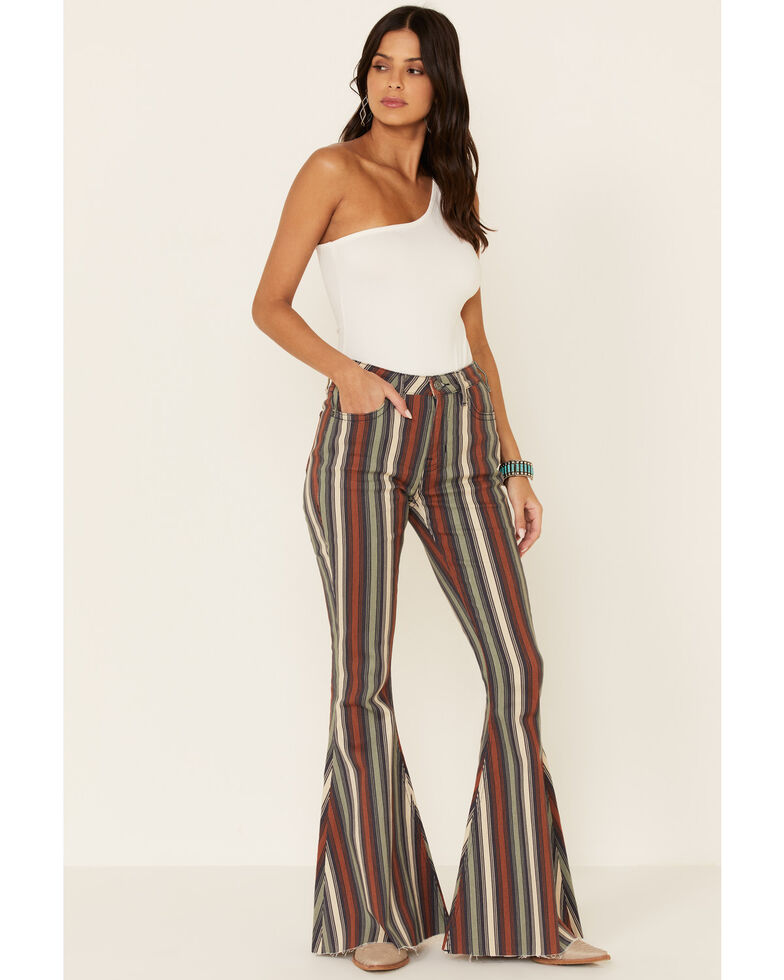 Rock & Roll Denim Women's Striped Bell Bottoms, Multi, hi-res