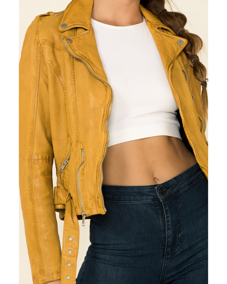 Mauritius Leather Women's Wild Moto Leather Jacket , Mustard, hi-res