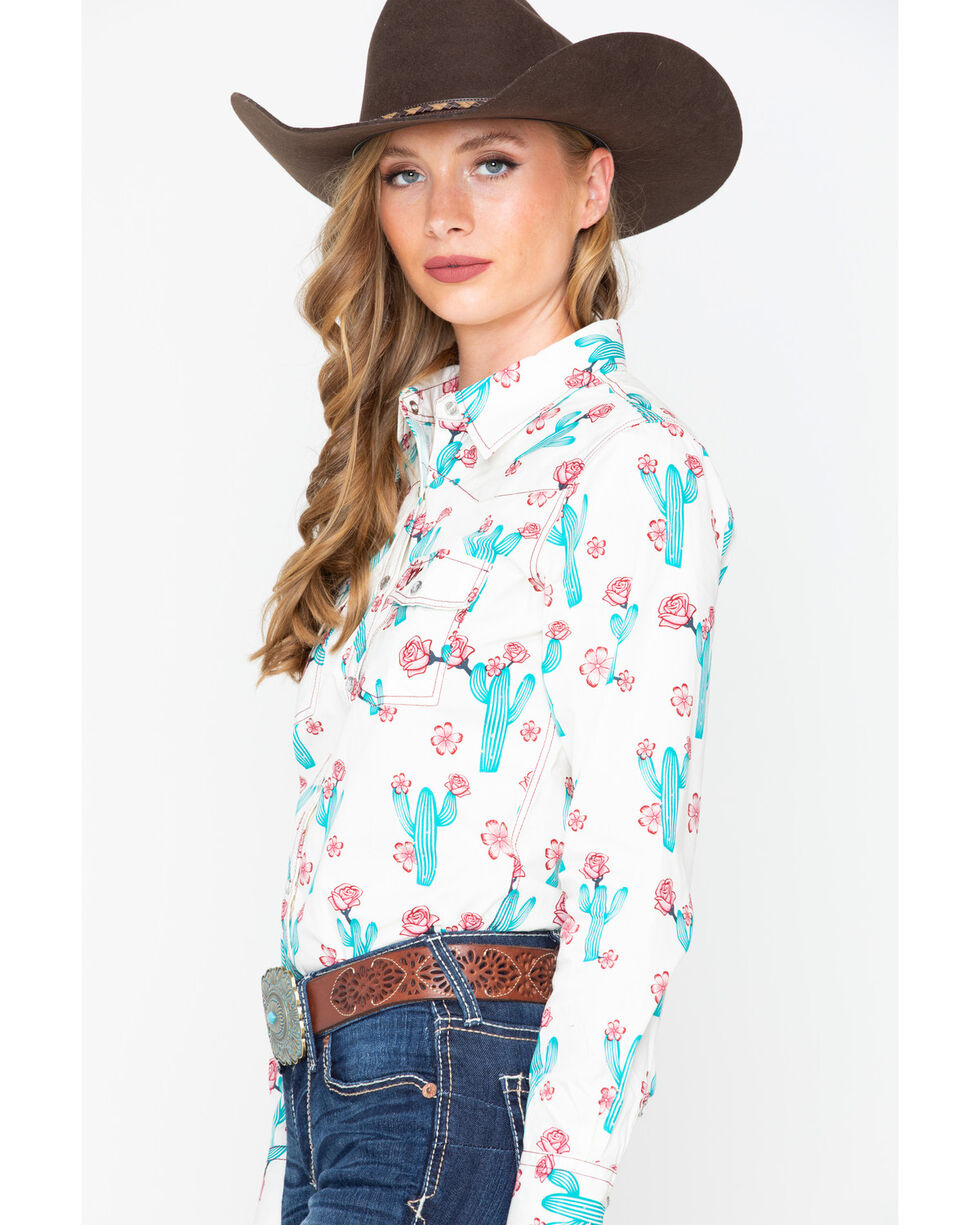 Cowgirl Hardware Women's Cactus Bloom Long Sleeve Western Shirt, Ivory, hi-res