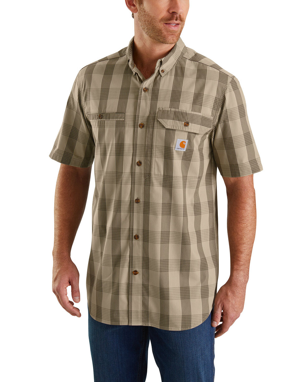 Carhartt Men's Olive Rugged Flex Rigby Short Sleeve Plaid Work Shirt - Tall , Olive, hi-res