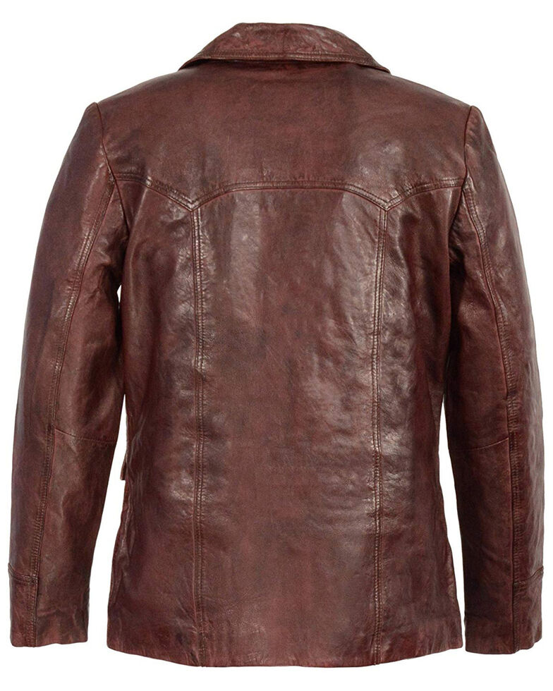 Milwaukee Leather Men's Button Front Leather Car Jacket , Brown, hi-res