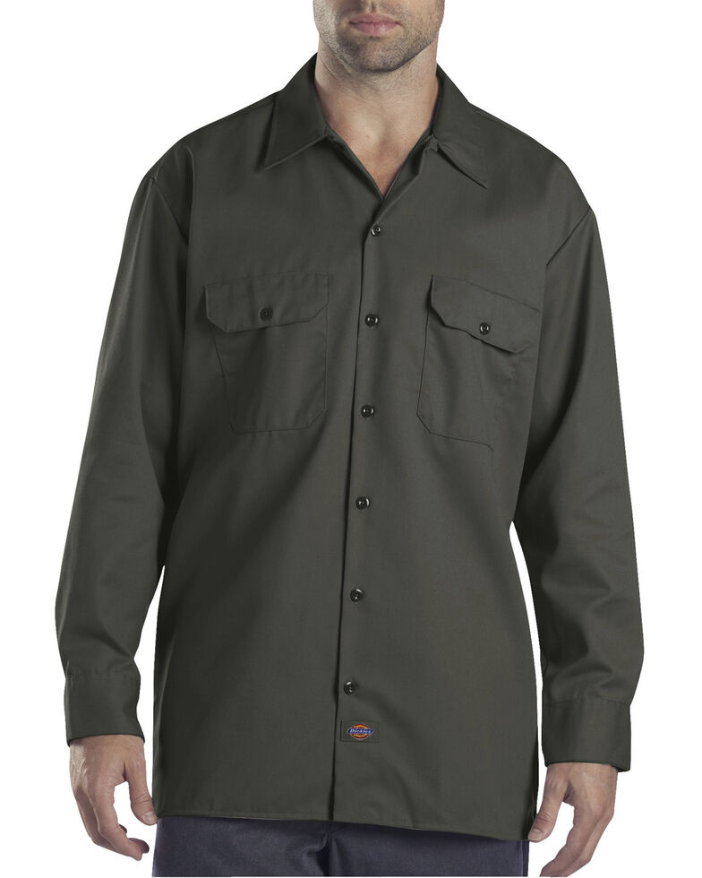 Dickies Men's Solid Twill Button Long Sleeve Work Shirt, Olive Green, hi-res