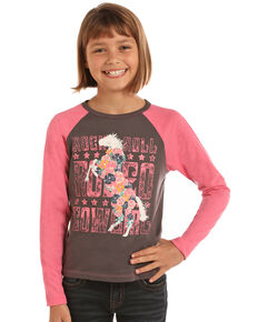 Rock & Roll Cowgirl Girls' Rodeo Cowgirl Graphic Baseball Tee, Pink, hi-res