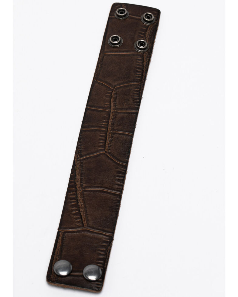 Cody James Men's Dual Snap Leather Cuff, Brown, hi-res
