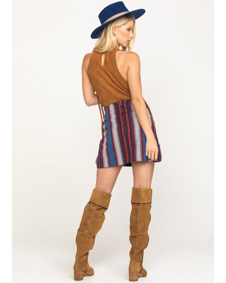 Rock & Roll Cowgirl Women's Ombre Stripe Stud Mini Skirt , Red/white/blue, hi-res