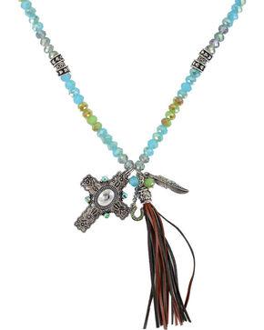 Shyanne® Women's Cross and Fringe Tassel Necklace, Silver, hi-res