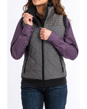 Cinch Women's Contrast Quilted Vest , Grey, hi-res