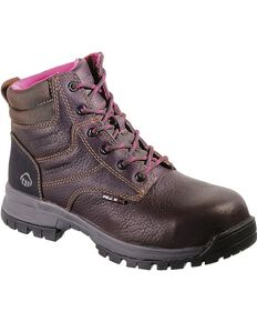 Wolverine Women's Piper Waterproof Composite Toe Work Boots, Brown, hi-res