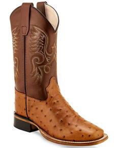 Old West Boys' Faux Ostrich Print Western Boots - Wide Square Toe, Cognac, hi-res