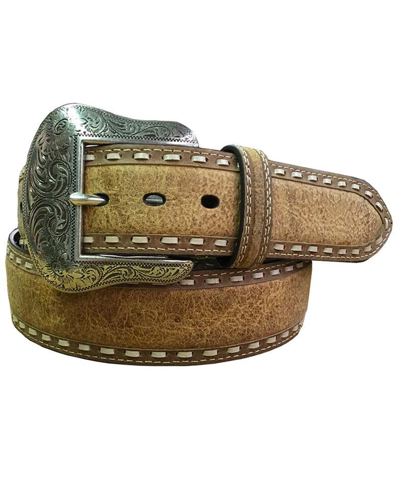 Roper Men's Brown Distressed Tan Buckstitch Leather Belt , Brown, hi-res
