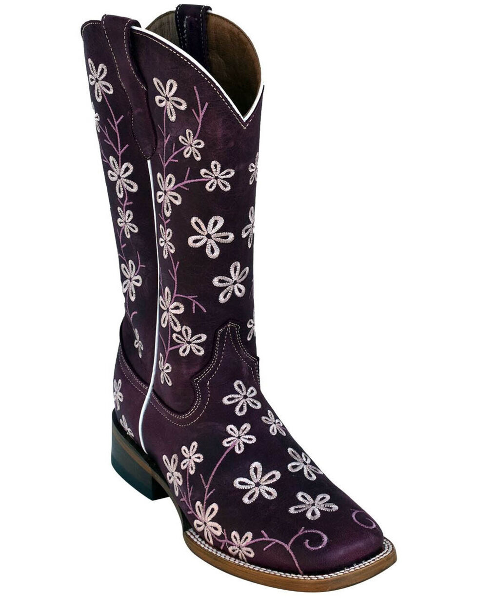 Ferrini Women's Purple Bloom Western Boots - Square Toe, Purple, hi-res