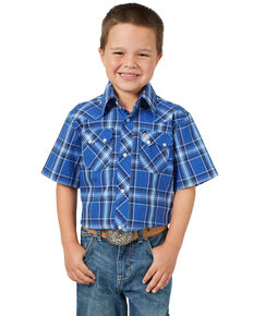 Wrangler Retro Boys' Royal Blue Plaid Short Sleeve Western Shirt , Royal Blue, hi-res