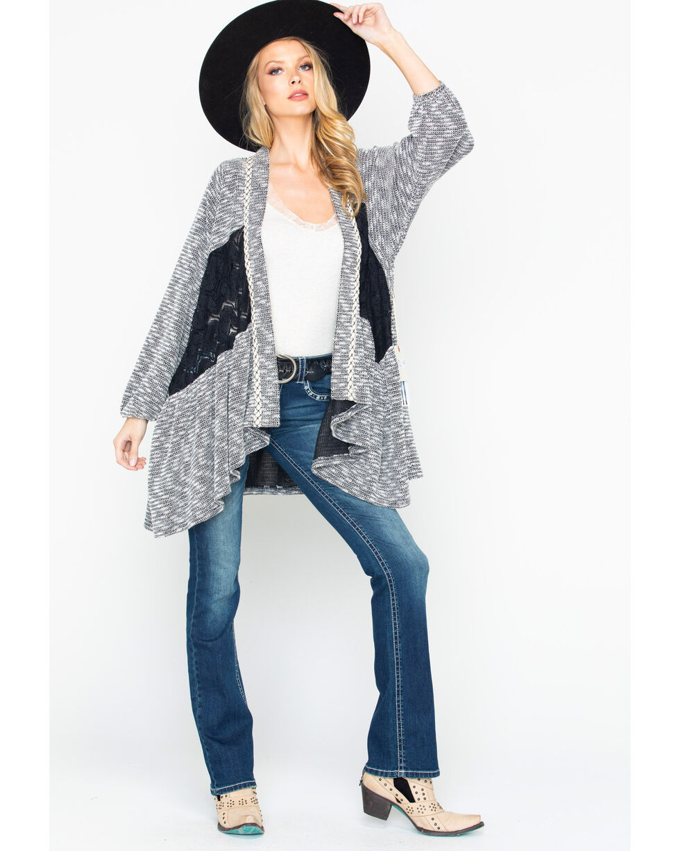 Miss Me Women's Gray Draped Open-Front Cardigan , Grey, hi-res