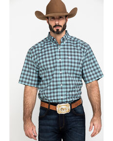 Ariat Men's Klamath Stretch Small Plaid Short Sleeve Western Shirt , Multi, hi-res