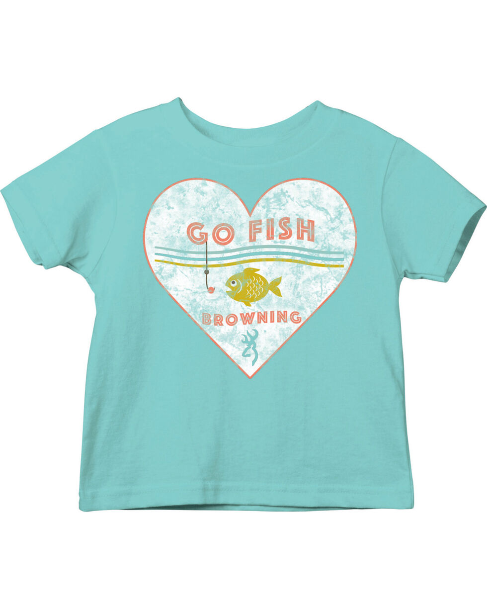 Browning Toddler Girls' Turquoise Go Fish Tee , Turquoise, hi-res