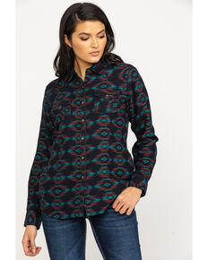 Ariat Women's R.E.A.L. Rustic Long Sleeve Western Shirt, Black, hi-res