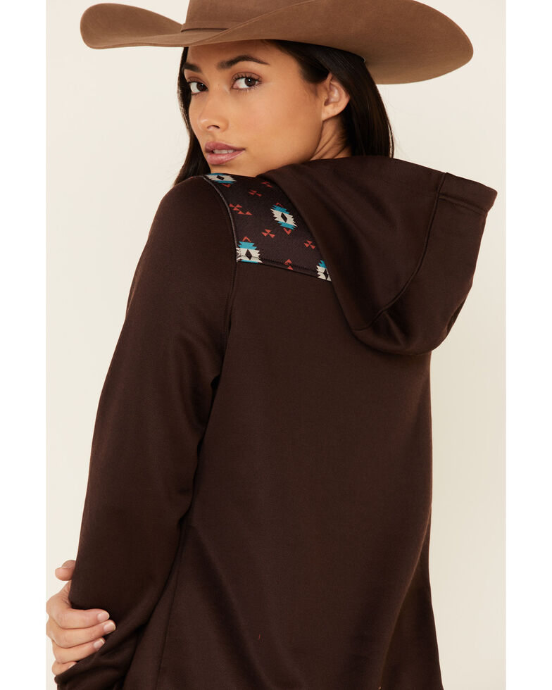 Cinch Women's Heathered Brown Poly-Tech Fleece Hooded Sweatshirt , Brown, hi-res
