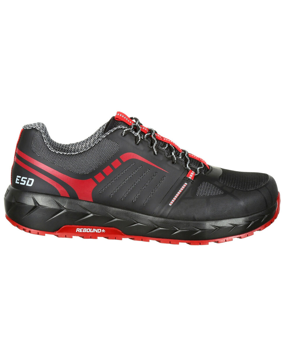 Rocky Men's LX Athletic Work Shoes - Round Toe, Blue/red, hi-res
