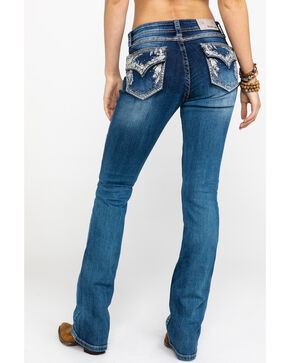 Grace In LA Women's Floral Embroidered Boot Jeans  , Blue, hi-res
