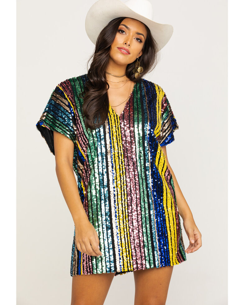 By Together Women's Multi Stripe Short Sleeve Sequin Dress, Multi, hi-res