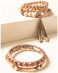 Shyanne Women's Desert Dreams Stretch Bead & Bangle Bracelet Set, Rust Copper, hi-res