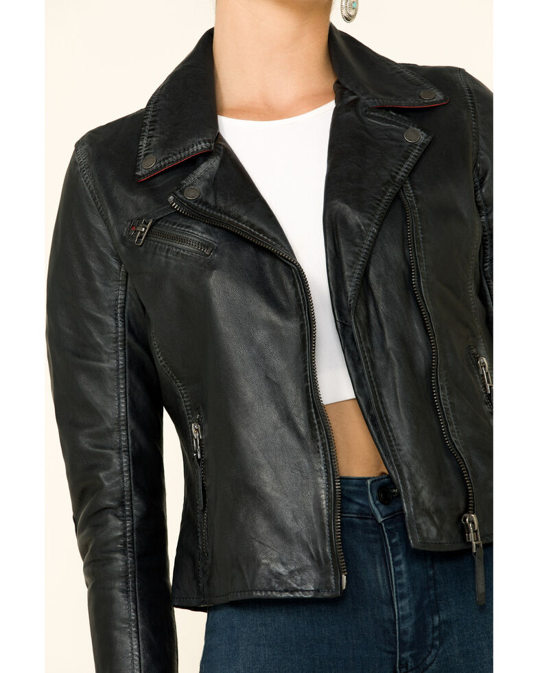 Mauritius Women's Christy Scatter Star Back Leather Jacket , Navy, hi-res