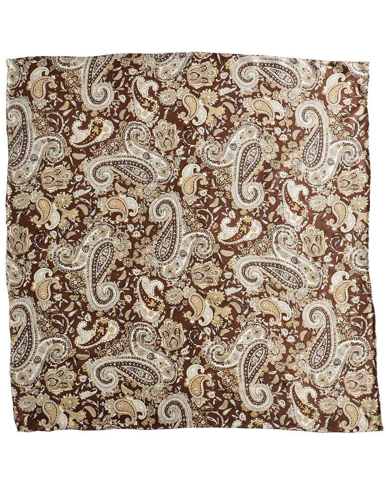 Brown Paisley Silk Wild Rag, Brown, hi-res