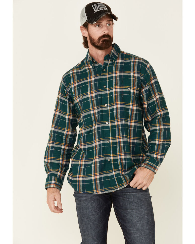 Wrangler Rugged Wear Men's Green Blue Ridge Long Sleeve Western Flannel Shirt , Green, hi-res