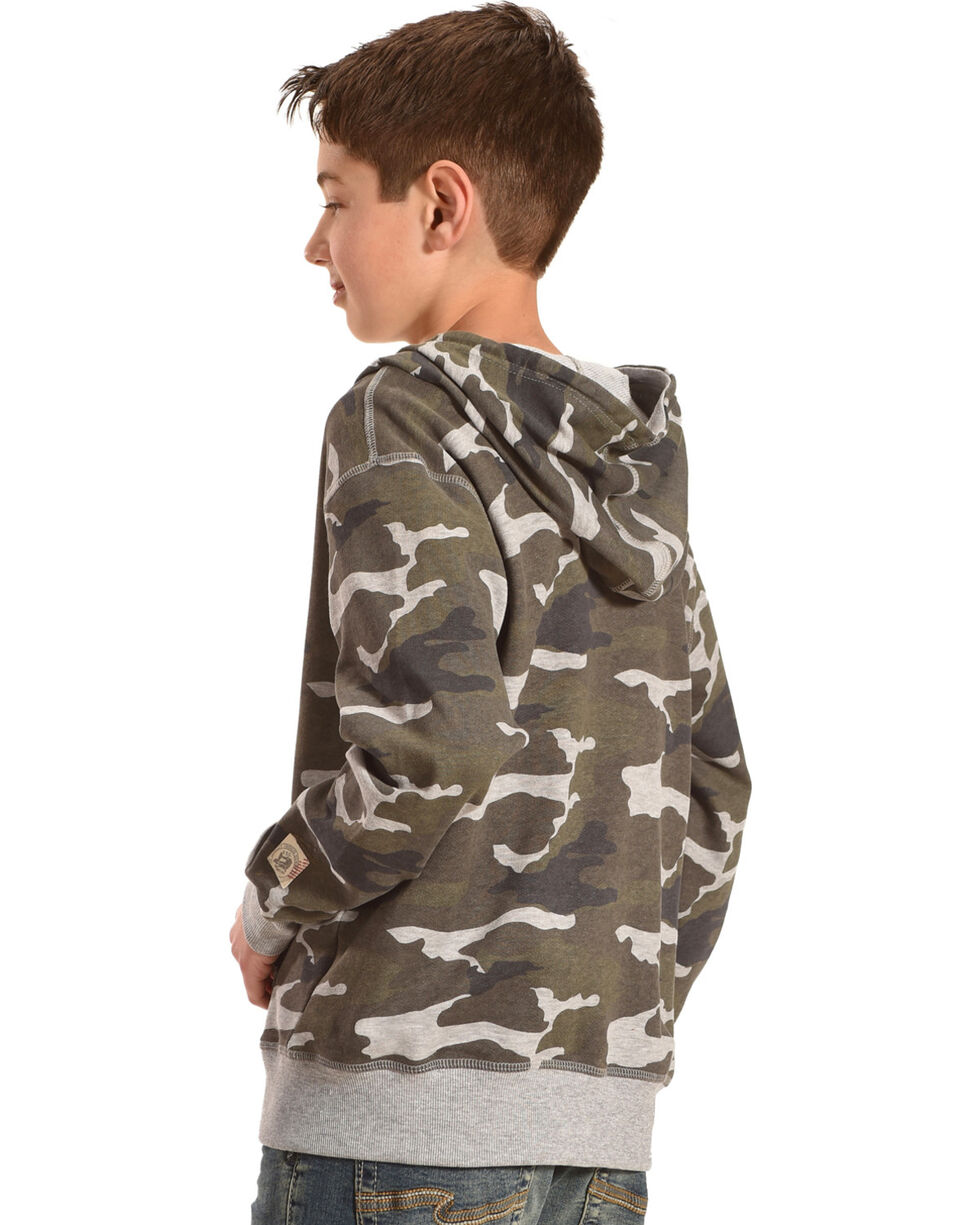 Silver Boys' Camo Full Zip Hoodie, Charcoal, hi-res